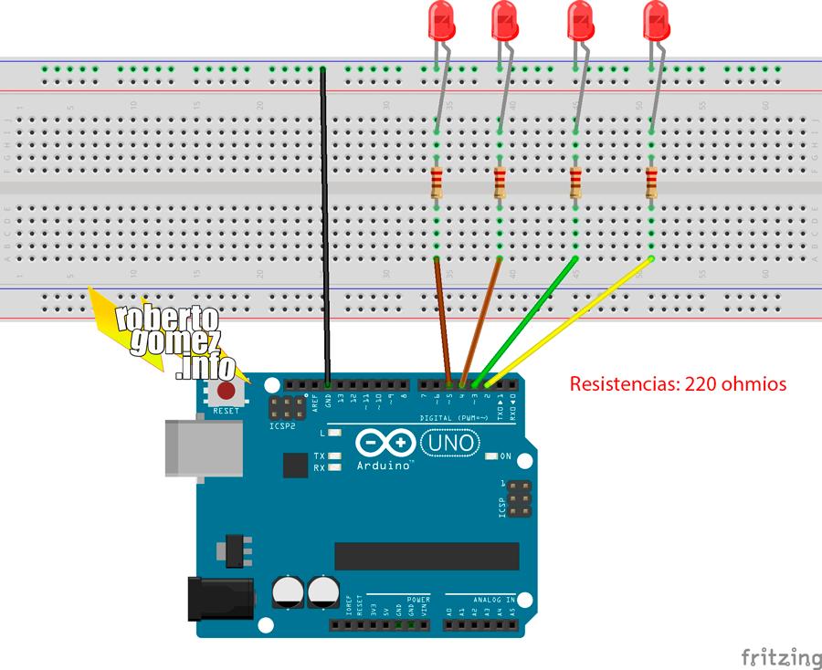 Empieza a usar Arduino controlando leds